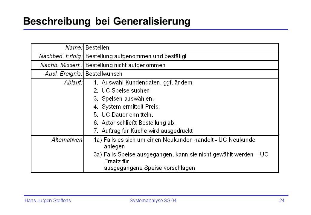 Beschreibung bei Generalisierung
