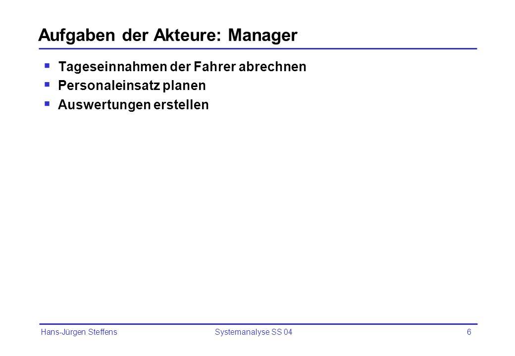 Aufgaben der Akteure: Manager
