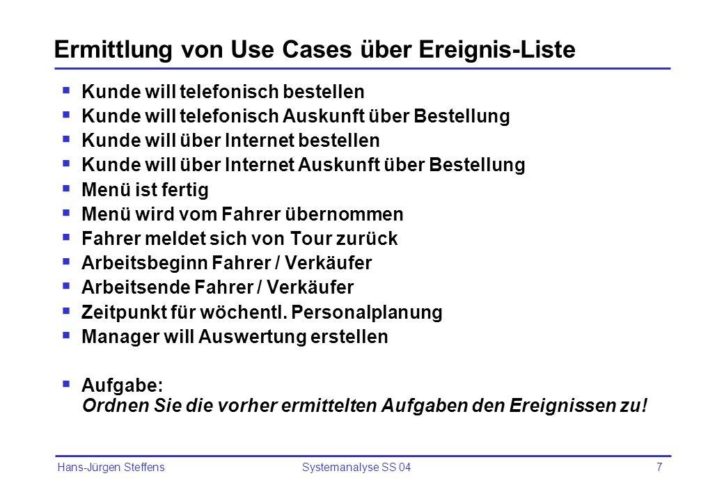 Ermittlung von Use Cases über Ereignis-Liste