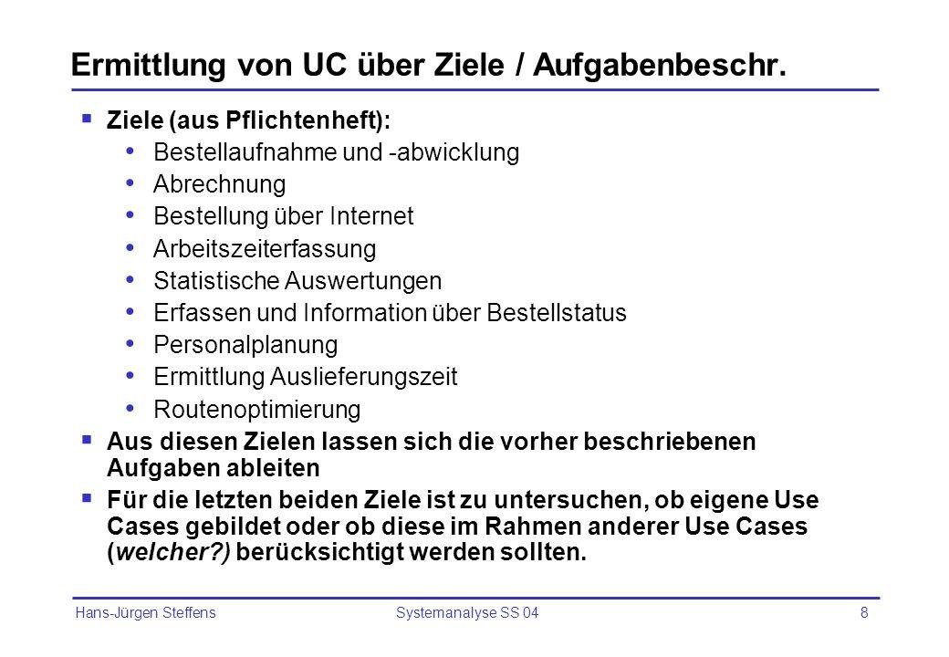 Ermittlung von UC über Ziele / Aufgabenbeschr.