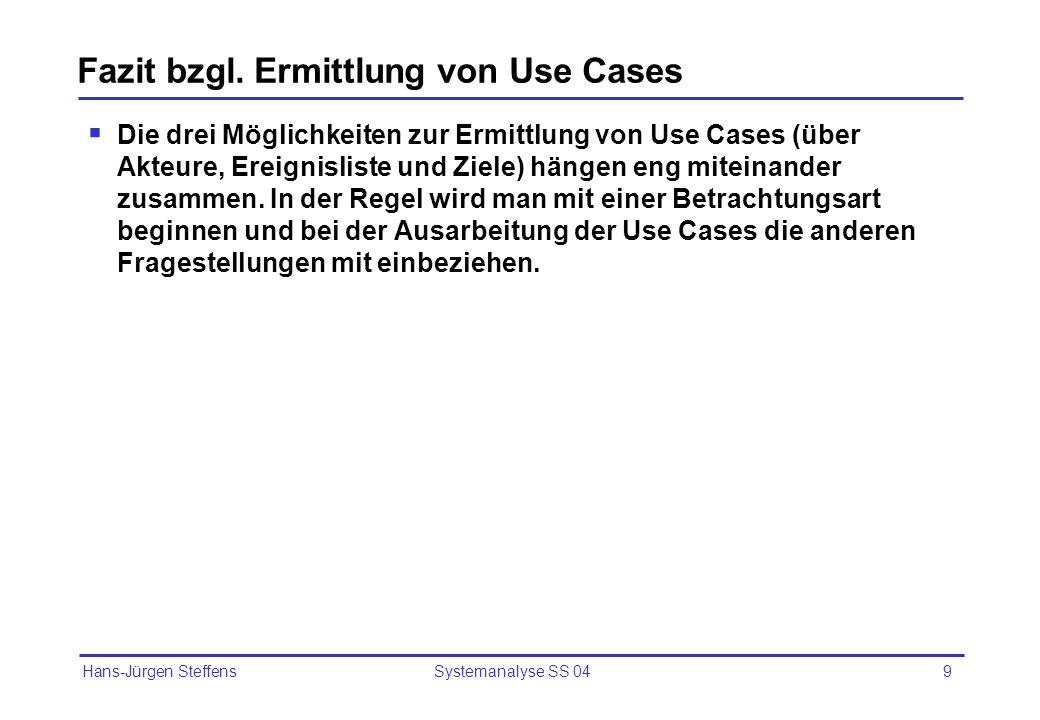 Fazit bzgl. Ermittlung von Use Cases