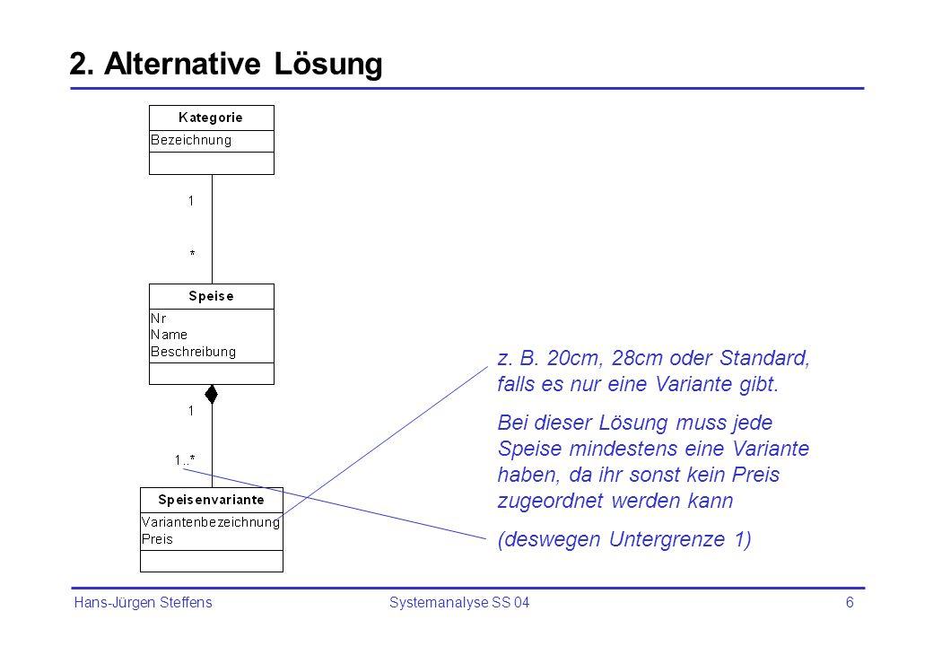 2. Alternative Lösung z. B. 20cm, 28cm oder Standard, falls es nur eine Variante gibt.