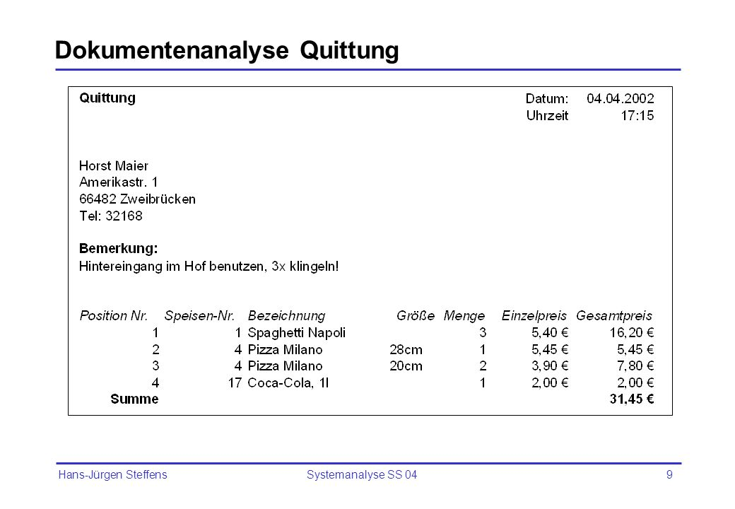 Dokumentenanalyse Quittung