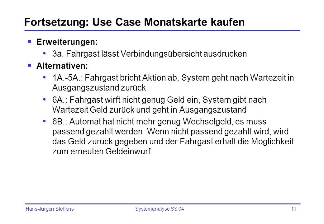 Fortsetzung: Use Case Monatskarte kaufen