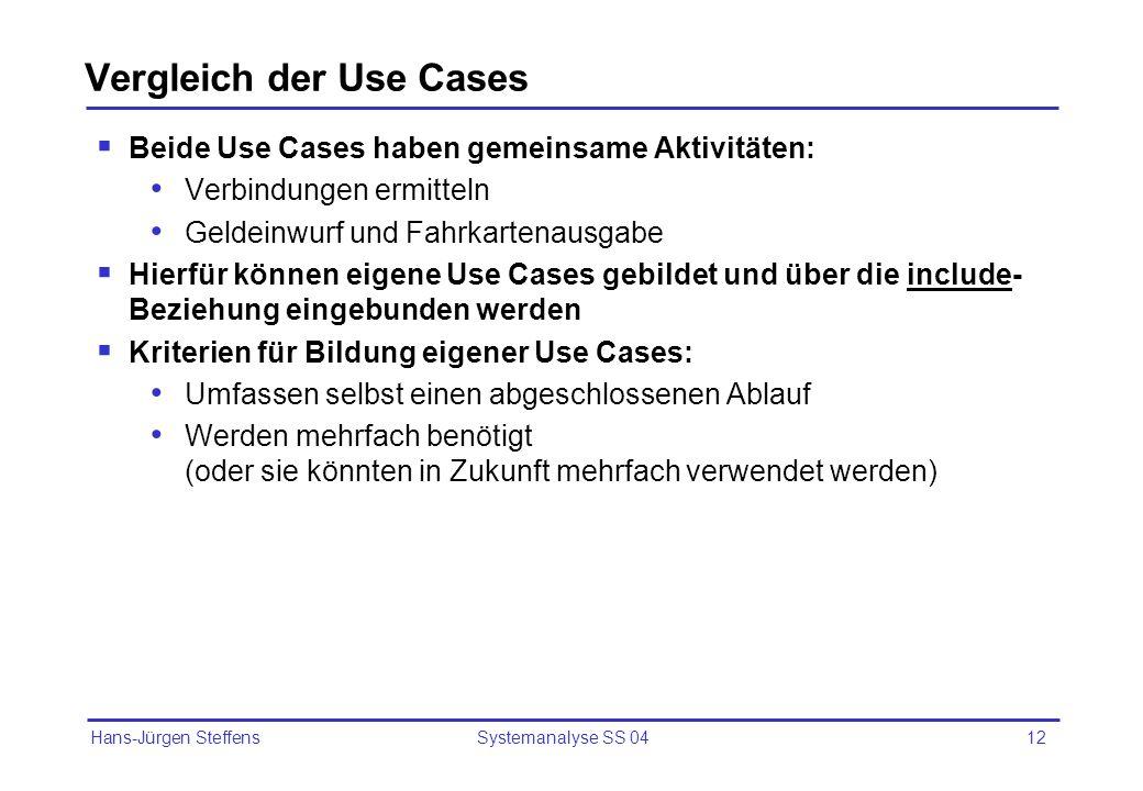 Vergleich der Use Cases