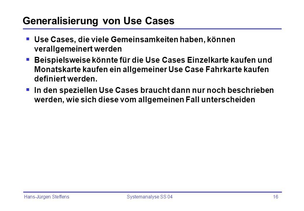 Generalisierung von Use Cases