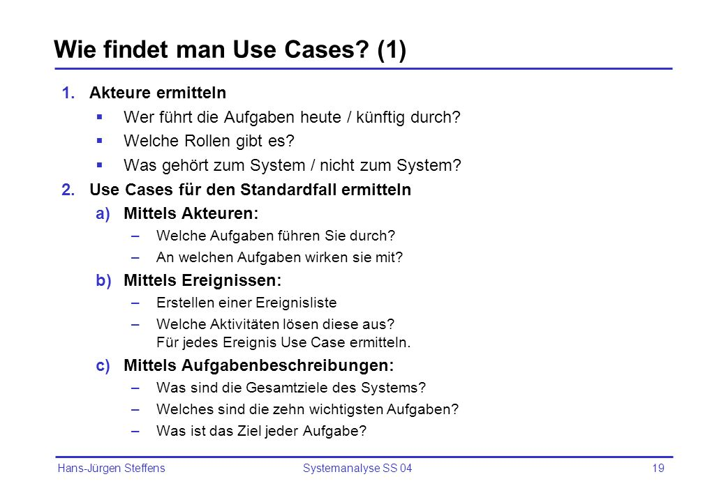 Wie findet man Use Cases (1)