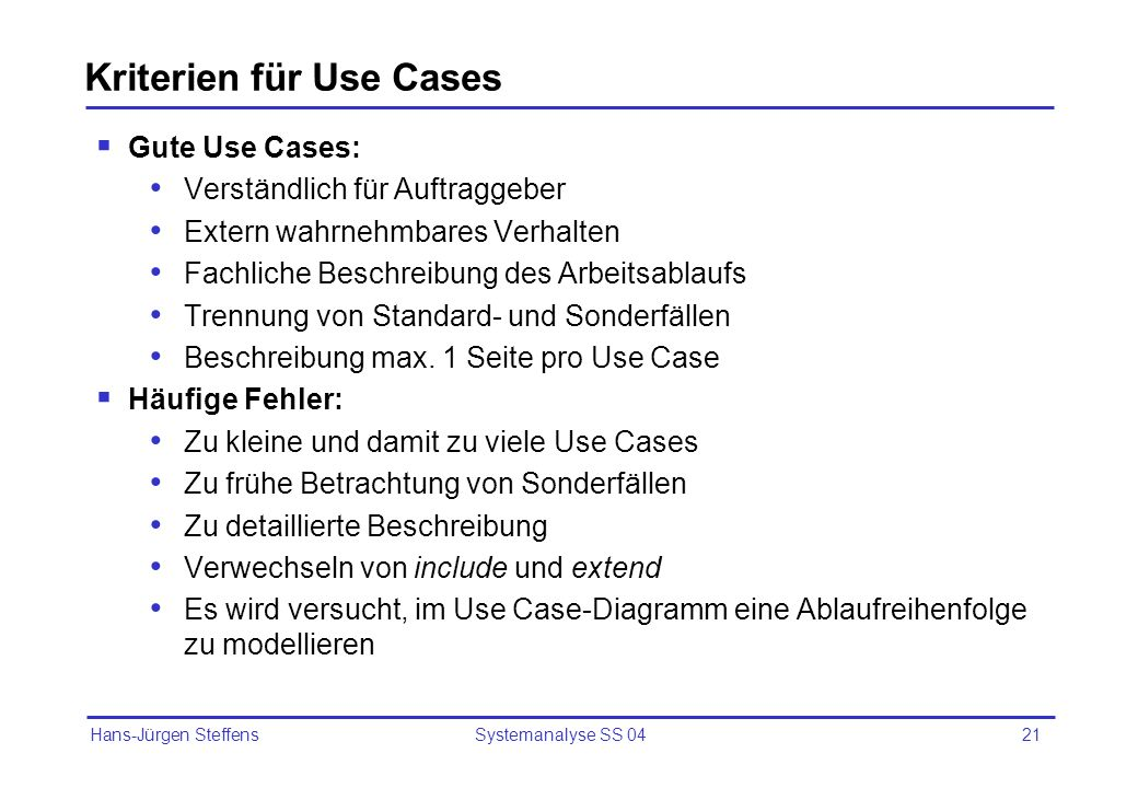Kriterien für Use Cases