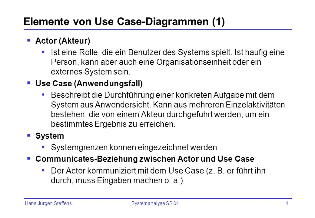 Elemente von Use Case-Diagrammen (1)