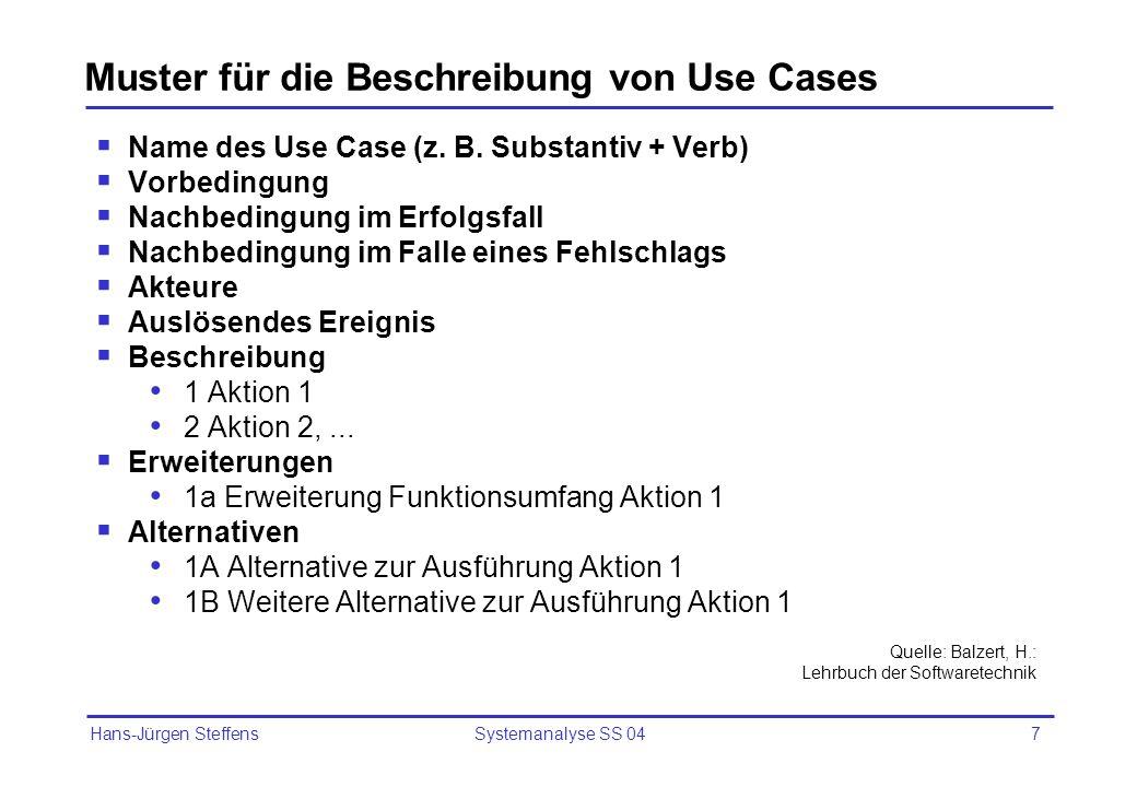 Muster für die Beschreibung von Use Cases
