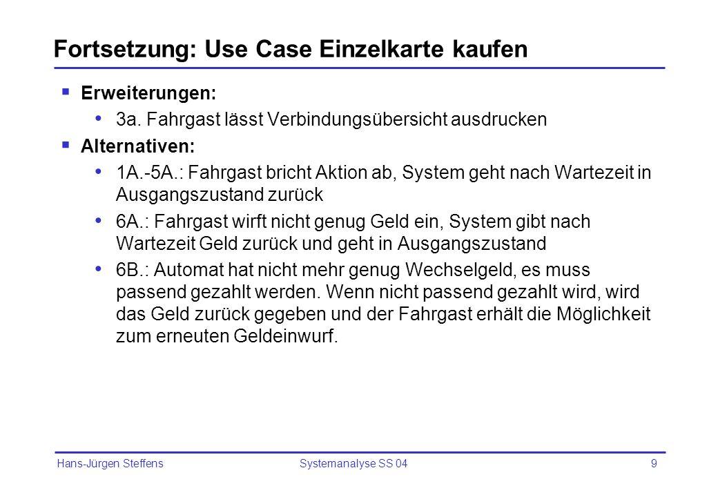 Fortsetzung: Use Case Einzelkarte kaufen