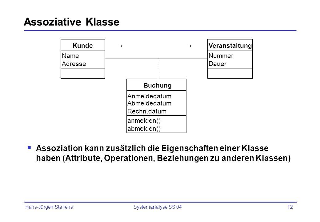 Assoziative Klasse Assoziation kann zusätzlich die Eigenschaften einer Klasse haben (Attribute, Operationen, Beziehungen zu anderen Klassen)