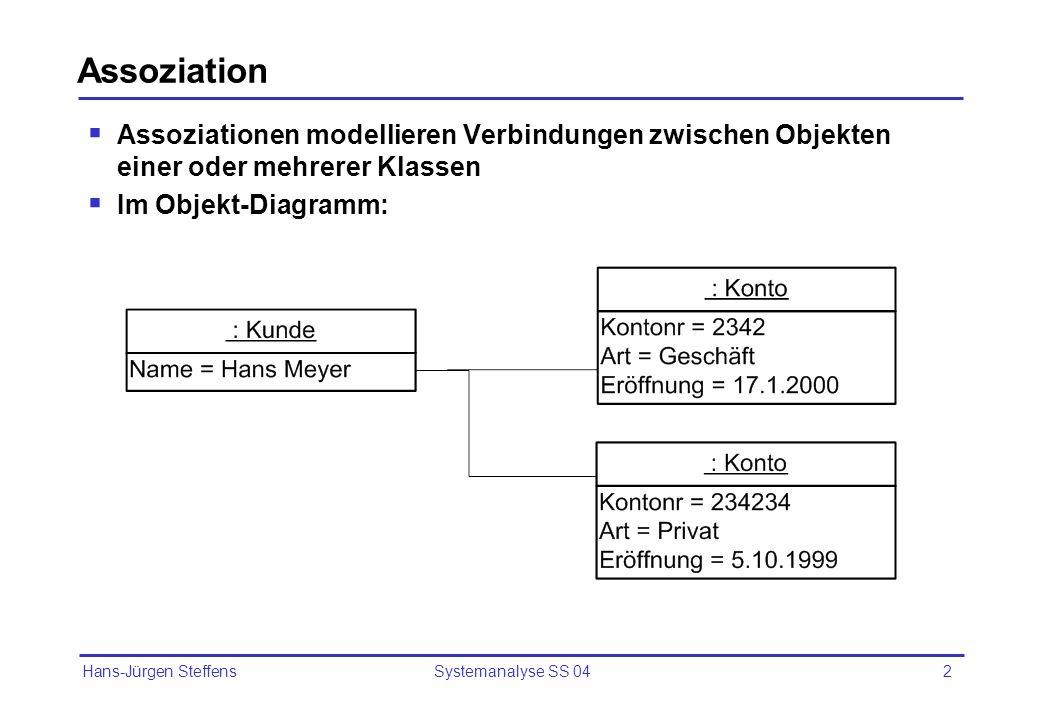 Assoziation Assoziationen modellieren Verbindungen zwischen Objekten einer oder mehrerer Klassen. Im Objekt-Diagramm: