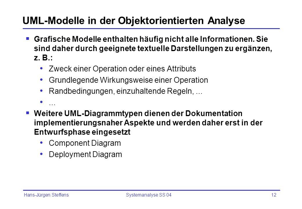 UML-Modelle in der Objektorientierten Analyse