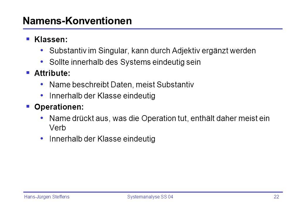 Namens-Konventionen Klassen: