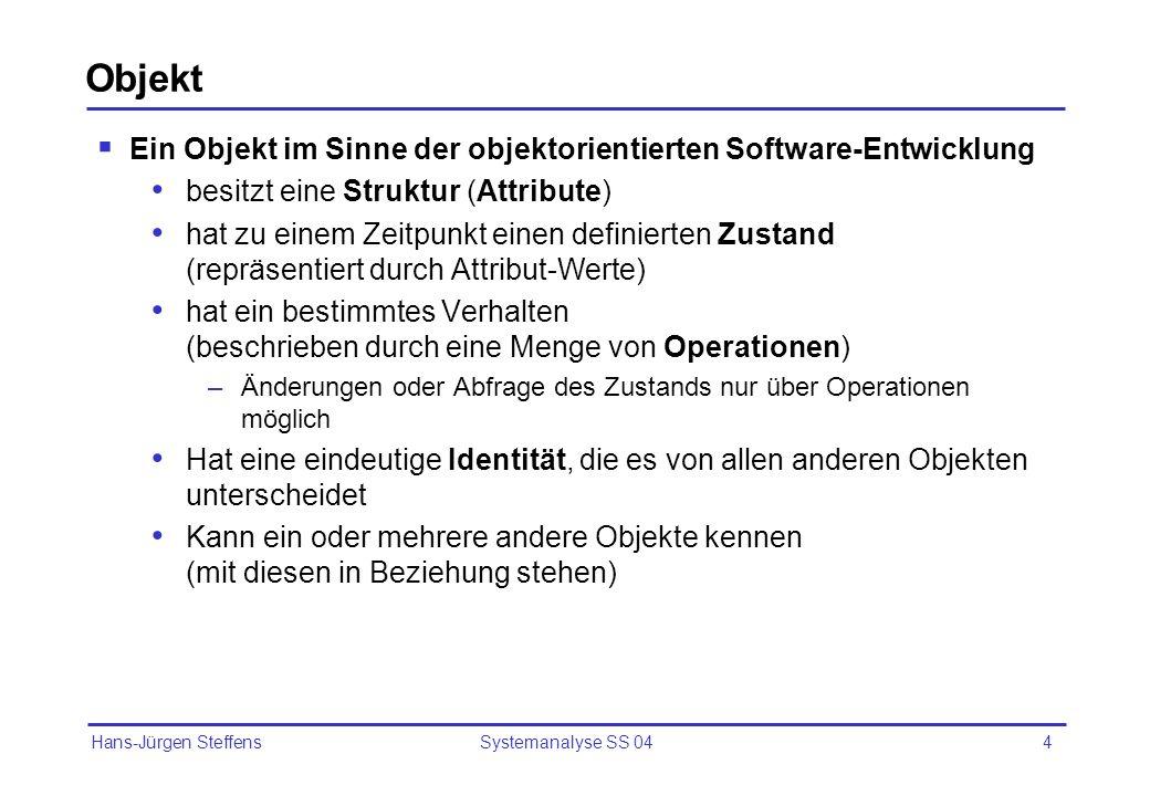 Objekt Ein Objekt im Sinne der objektorientierten Software-Entwicklung