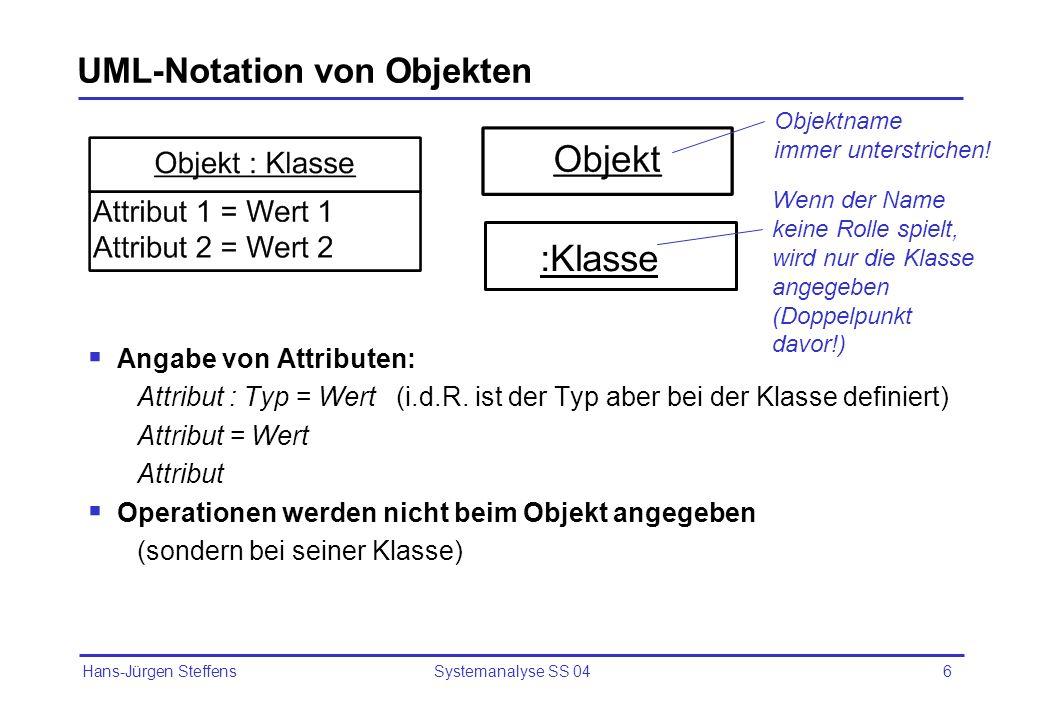 UML-Notation von Objekten