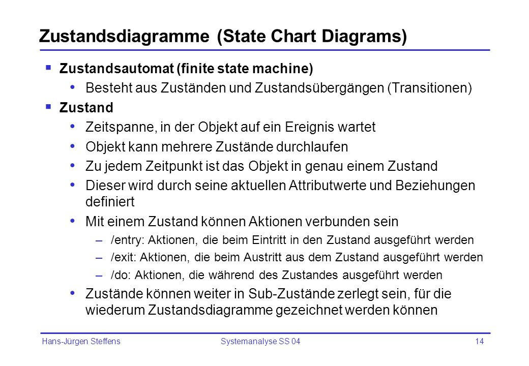 Zustandsdiagramme (State Chart Diagrams)