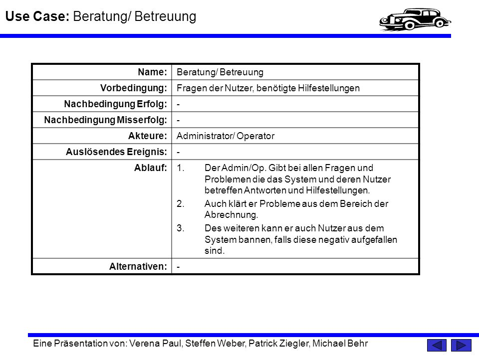 Use Case: Beratung/ Betreuung