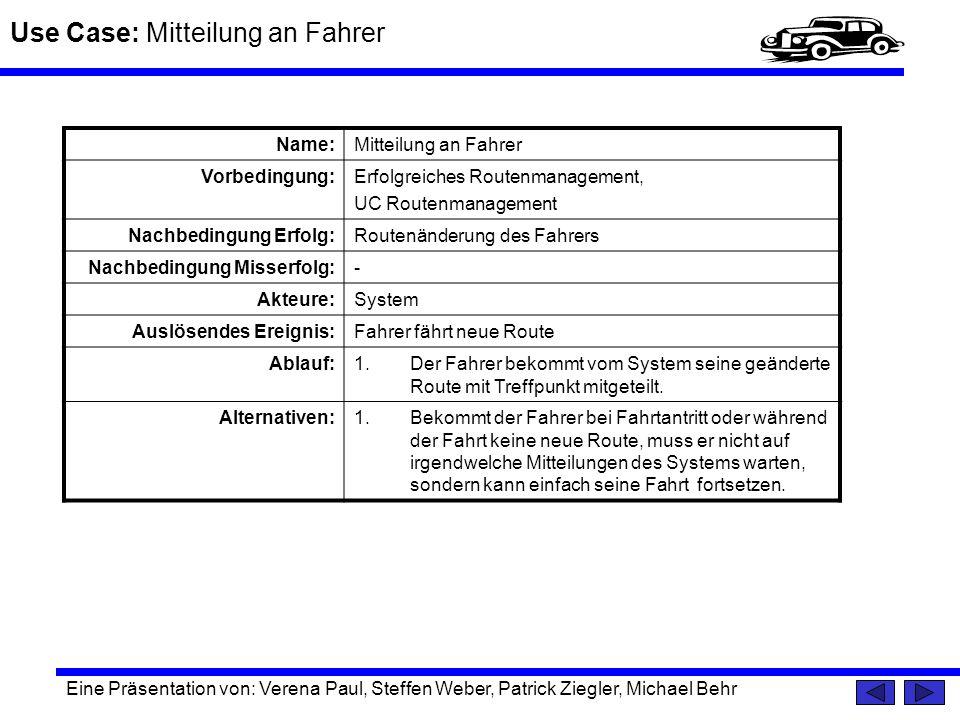 Use Case: Mitteilung an Fahrer