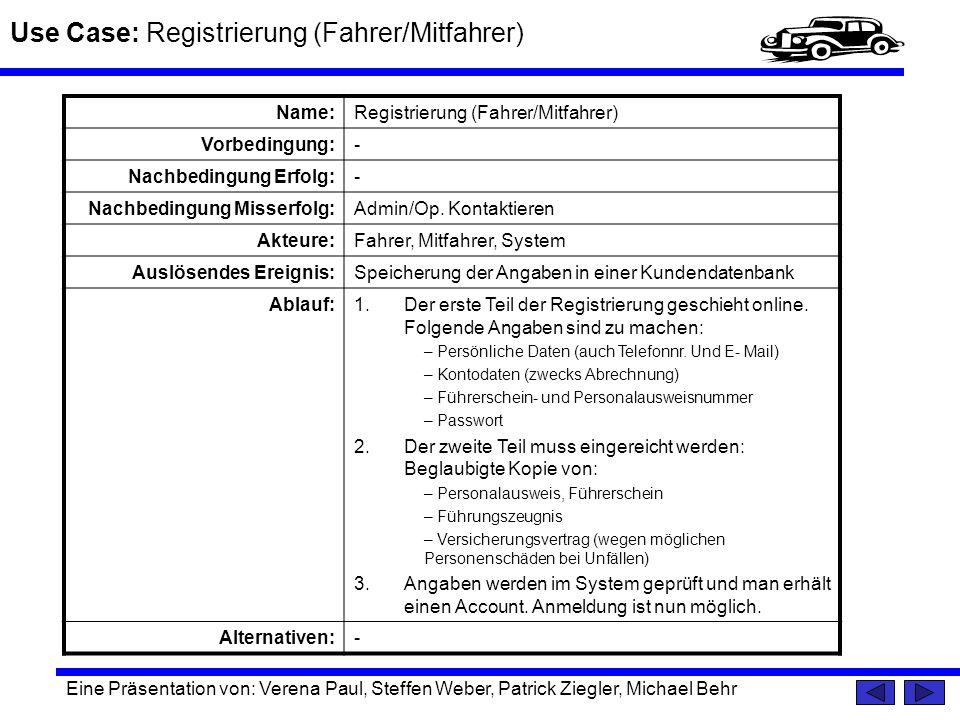Use Case: Registrierung (Fahrer/Mitfahrer)