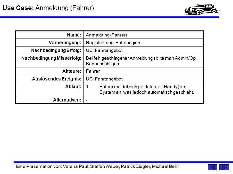 Use Case: Anmeldung (Fahrer)