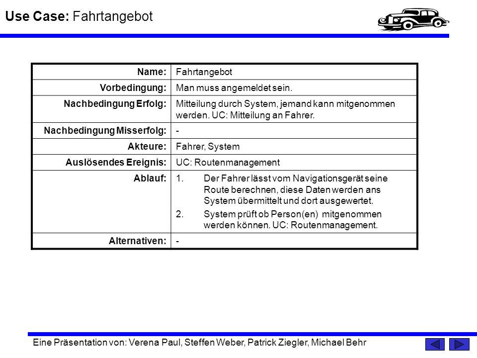 Use Case: Fahrtangebot