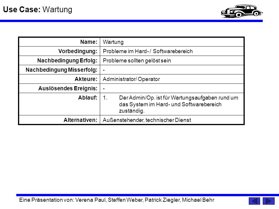 Use Case: Wartung Name: Wartung Vorbedingung: