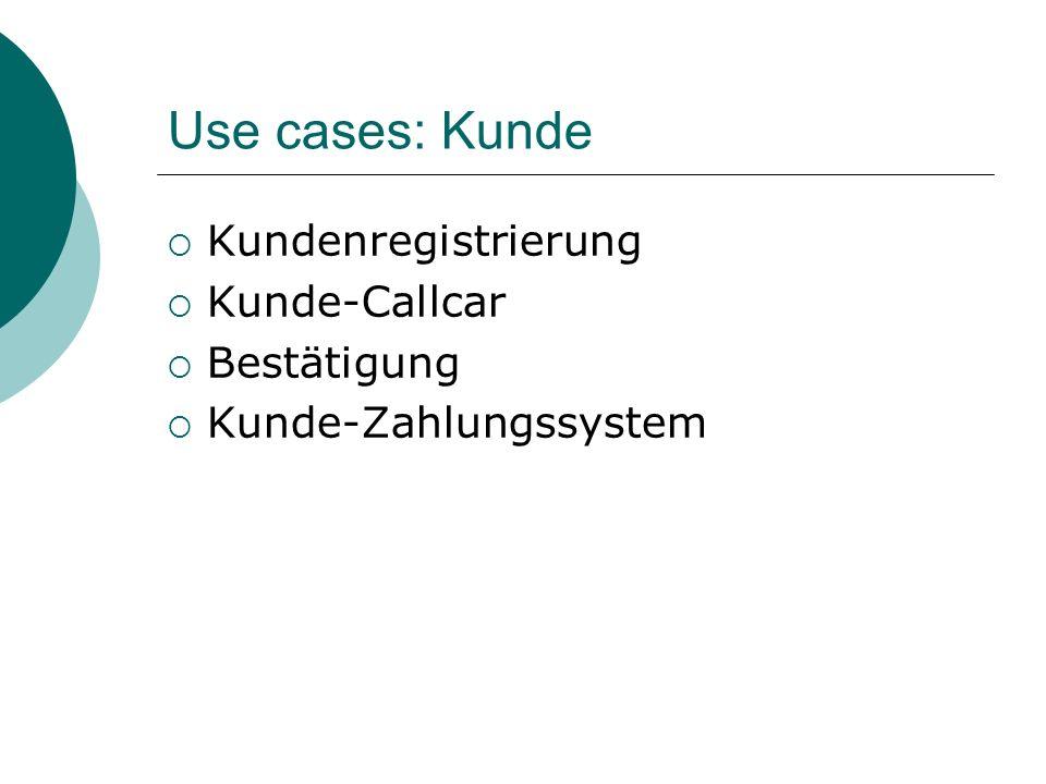 Use cases: Kunde Kundenregistrierung Kunde-Callcar Bestätigung