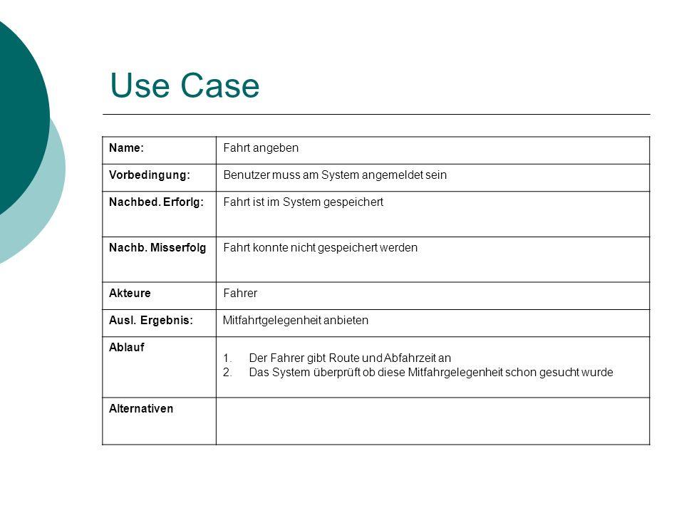 Use Case Name: Fahrt angeben Vorbedingung: