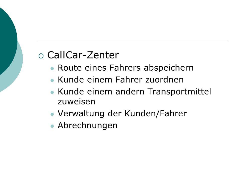CallCar-Zenter Route eines Fahrers abspeichern