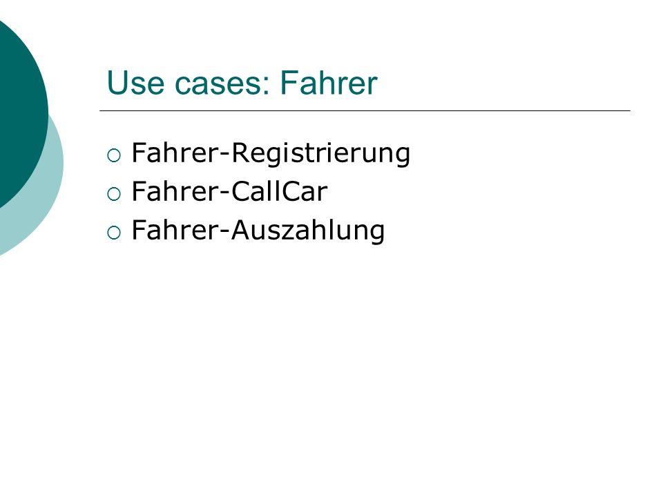 Use cases: Fahrer Fahrer-Registrierung Fahrer-CallCar