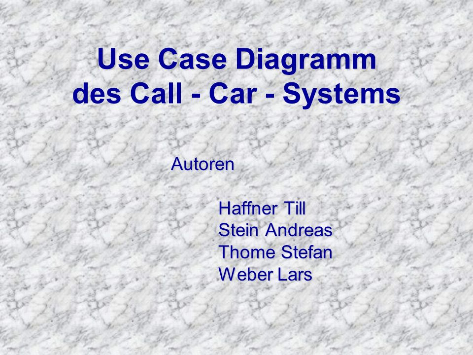 Use Case Diagramm des Call - Car - Systems