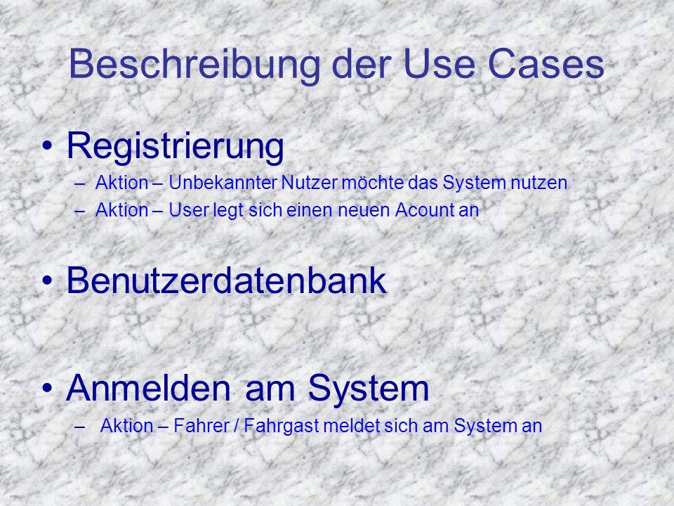 Beschreibung der Use Cases