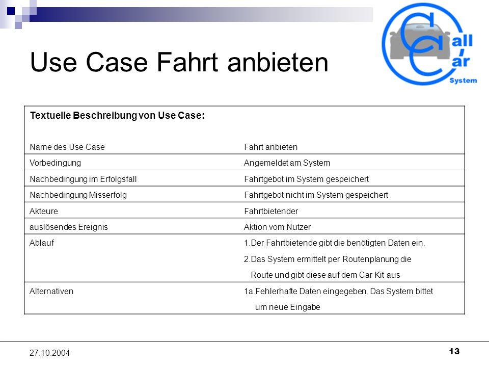 Use Case Fahrt anbieten