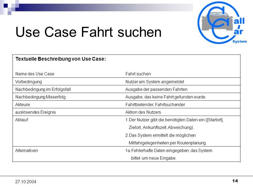 Use Case Fahrt suchen Textuelle Beschreibung von Use Case: