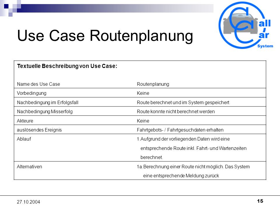 Use Case Routenplanung
