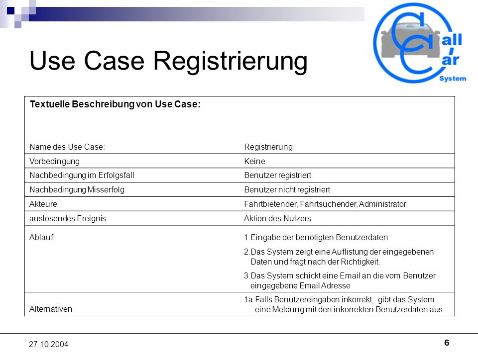 Use Case Registrierung