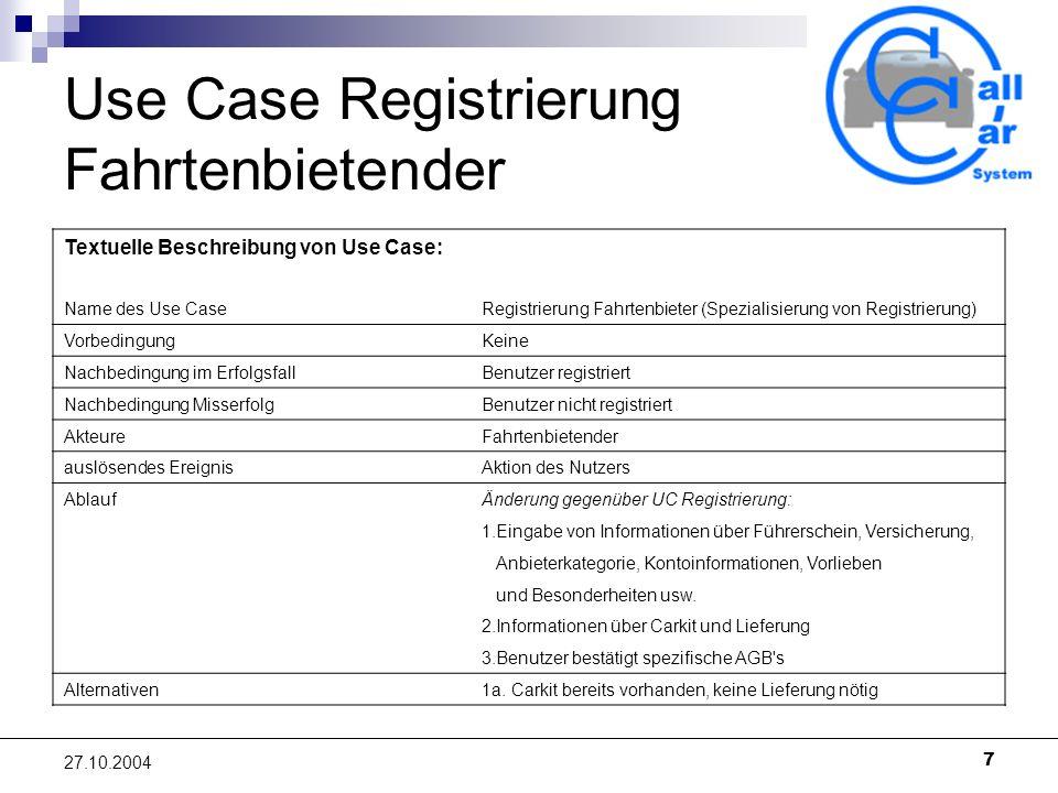 Use Case Registrierung Fahrtenbietender