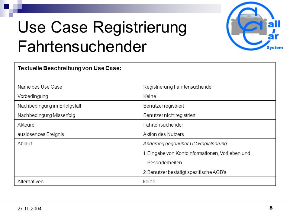 Use Case Registrierung Fahrtensuchender