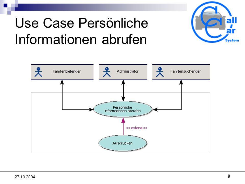 Use Case Persönliche Informationen abrufen