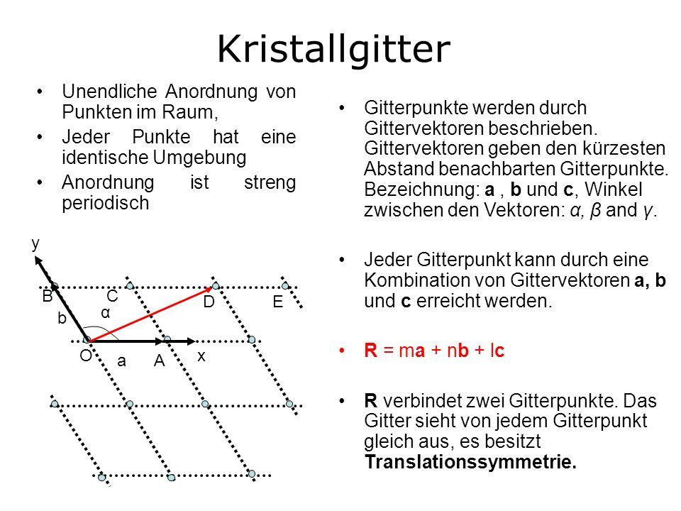 Kristallgitter Unendliche Anordnung von Punkten im Raum,