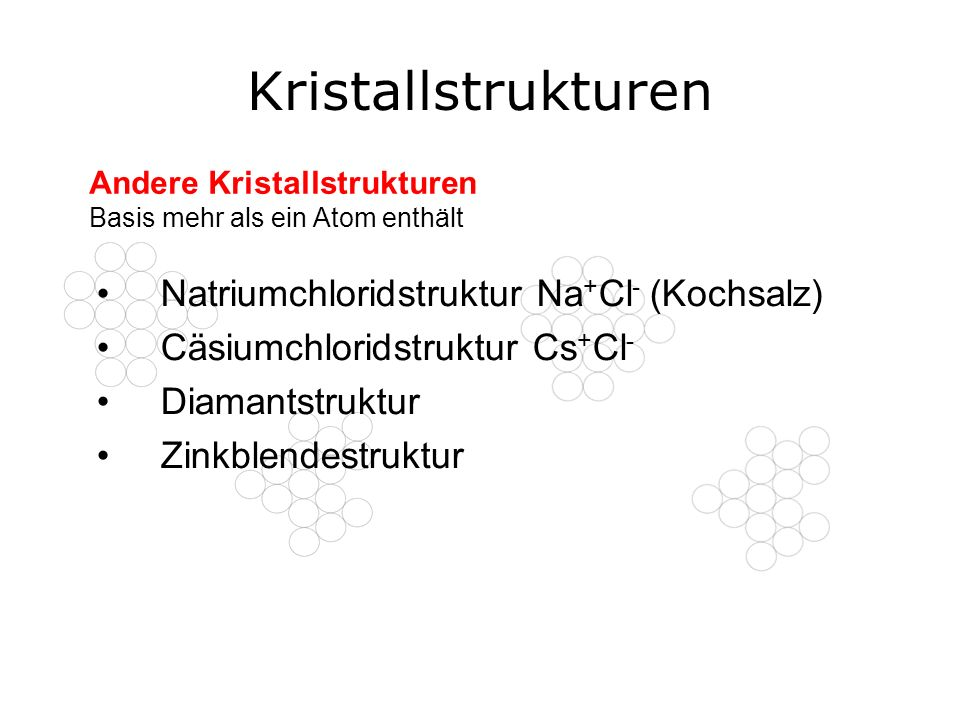 Kristallstrukturen Natriumchloridstruktur Na+Cl- (Kochsalz)