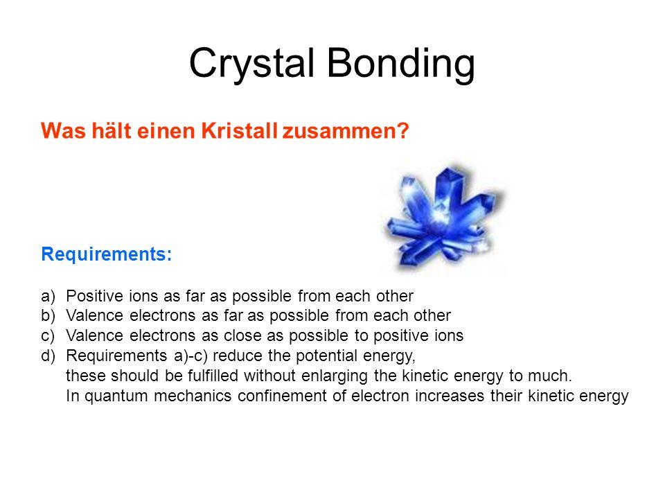 Crystal Bonding Was hält einen Kristall zusammen Requirements: