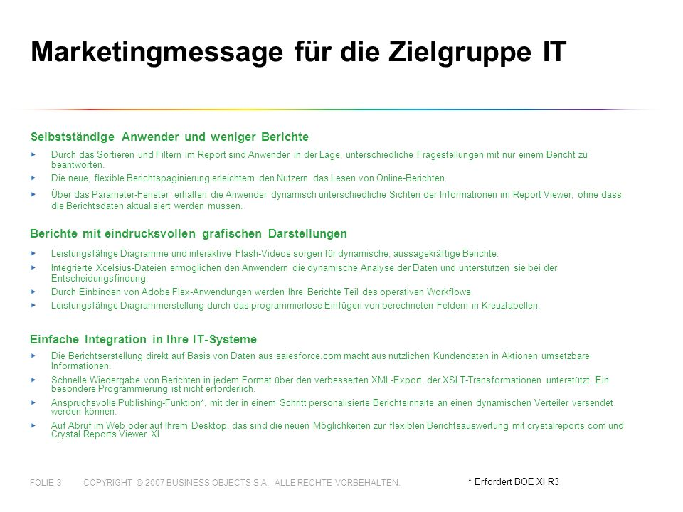 Marketingmessage für die Zielgruppe IT