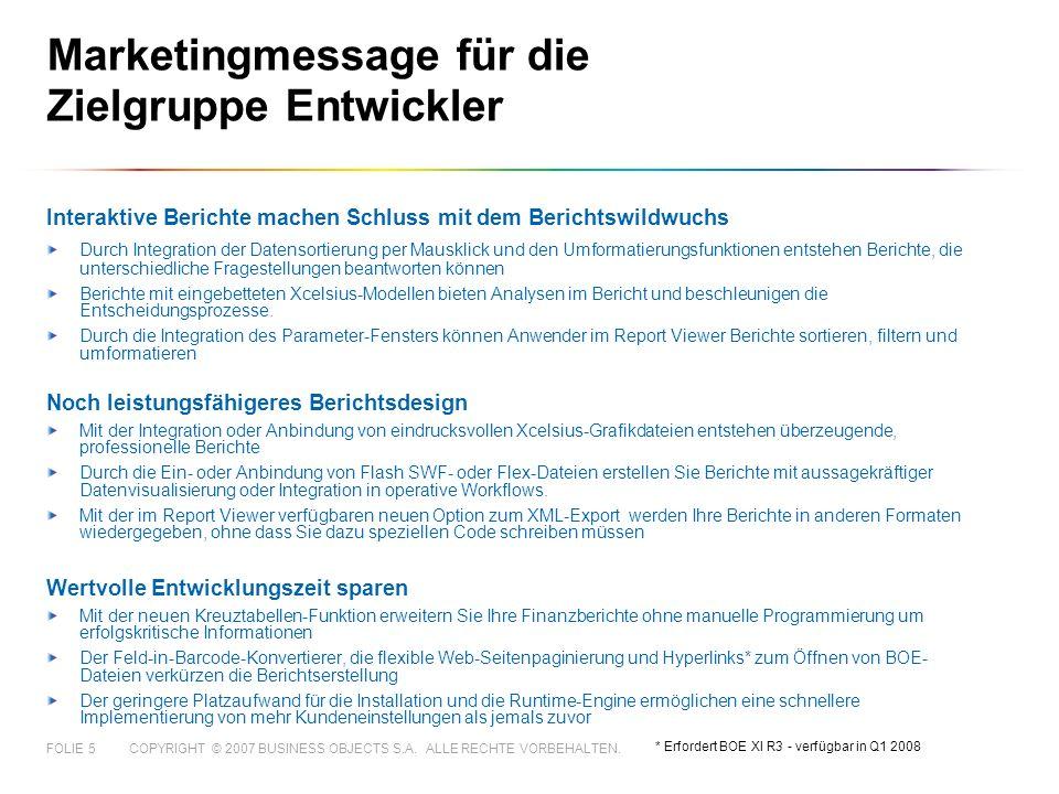 Marketingmessage für die Zielgruppe Entwickler
