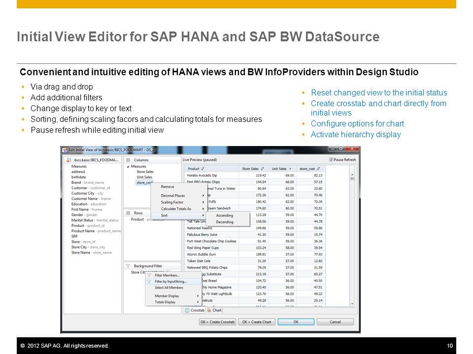 Initial View Editor for SAP HANA and SAP BW DataSource