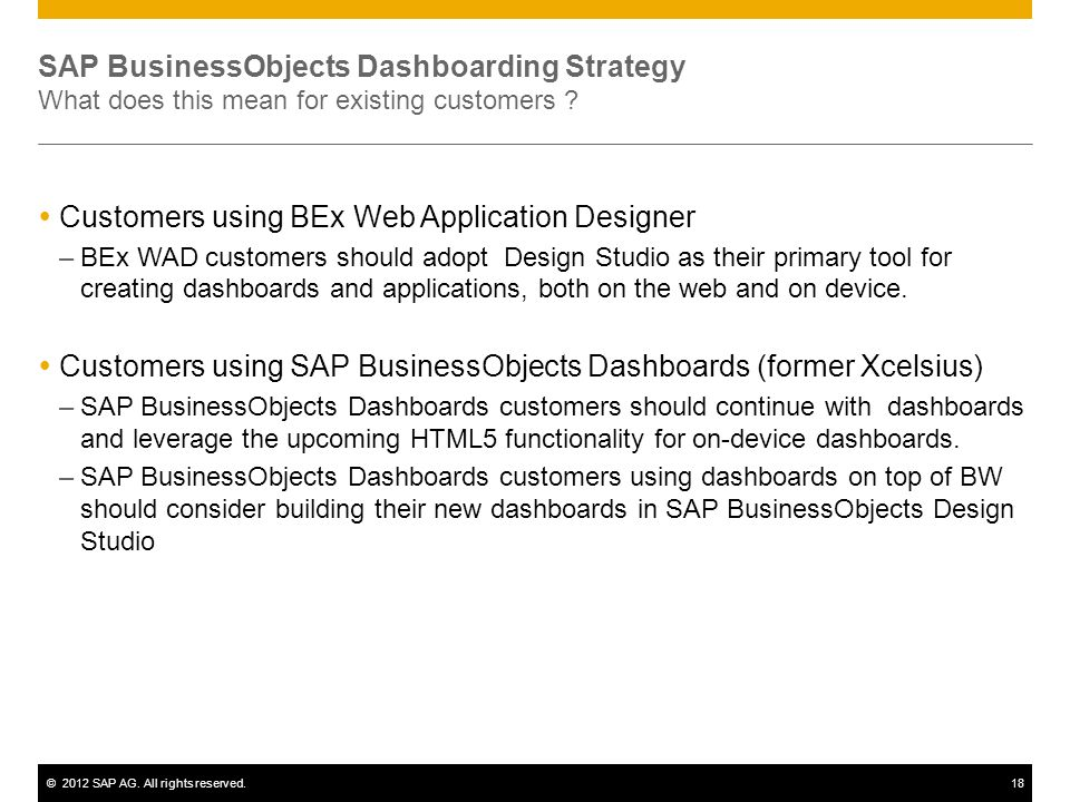 Customers using BEx Web Application Designer