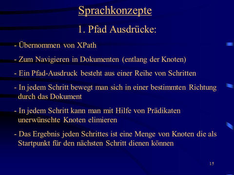 Sprachkonzepte 1. Pfad Ausdrücke: - Übernommen von XPath