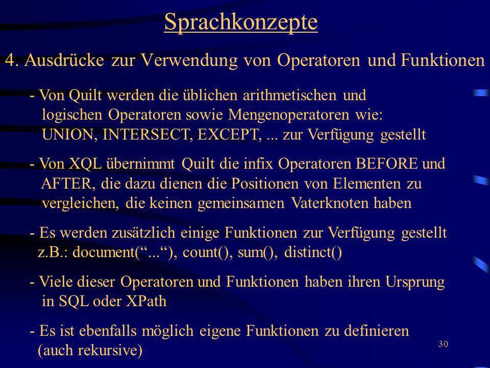 4. Ausdrücke zur Verwendung von Operatoren und Funktionen